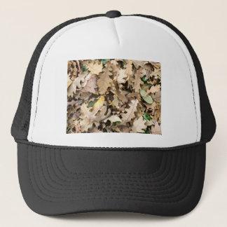 Top view of the fallen oak leaves closeup trucker hat