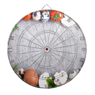 Top view of the food ingredients in the form dartboard