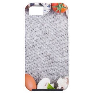Top view of the food ingredients in the form iPhone 5 covers