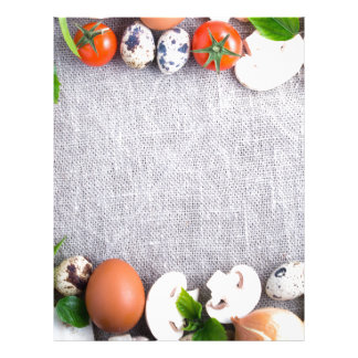 Top view of the food ingredients in the form letterhead