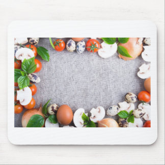 Top view of the food ingredients in the form mouse pad