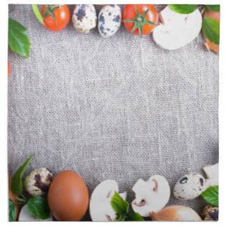 Top view of the food ingredients in the form napkin