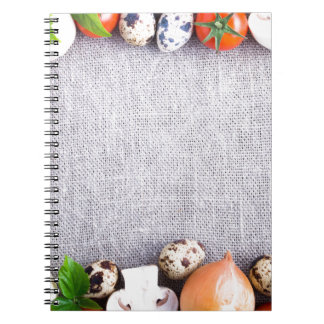 Top view of the food ingredients in the form notebooks