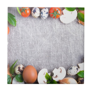 Top view of the food ingredients in the form tile