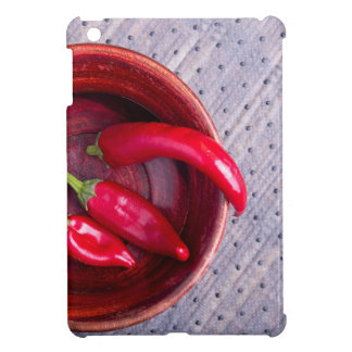 Top view of the fruits of of hot red chili peppers iPad mini covers