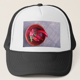 Top view of the fruits of of hot red chili peppers trucker hat