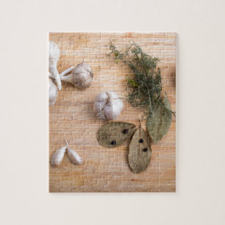 Top view of the garlic and dried spices jigsaw puzzle
