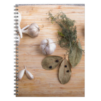 Top view of the garlic and dried spices notebooks
