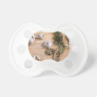 Top view of the garlic and dried spices pacifiers