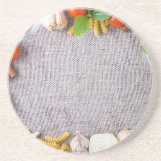 Top view of the ingredients for a meal coaster