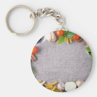 Top view of the ingredients for a meal keychain