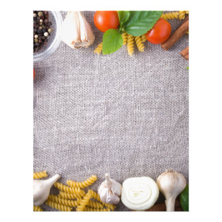 Top view of the ingredients for a meal letterhead
