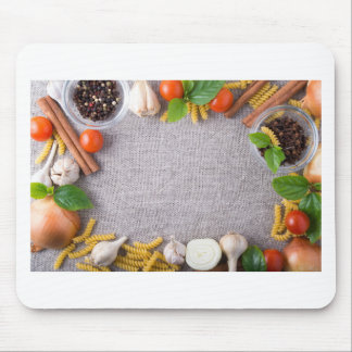 Top view of the ingredients for a meal mouse pad