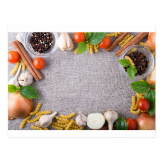 Top view of the ingredients for a meal postcard