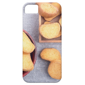 Top view of the pieces of dried bread case for the iPhone 5