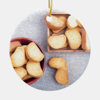 Top view of the pieces of dried bread ceramic ornament