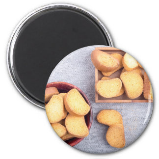 Top view of the pieces of dried bread magnet