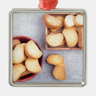 Top view of the pieces of dried bread metal ornament