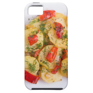 Top view of the pieces of potato stew with vegetab iPhone 5 case