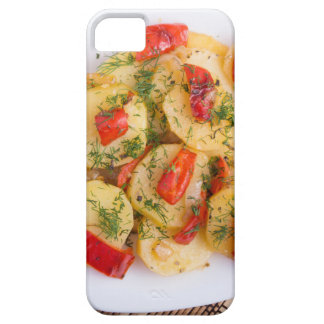 Top view of the pieces of potato stew with vegetab iPhone 5 cases