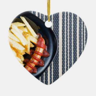 Top view of the Russian national dish Ceramic Heart Ornament