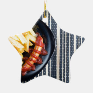 Top view of the Russian national dish Ceramic Star Ornament