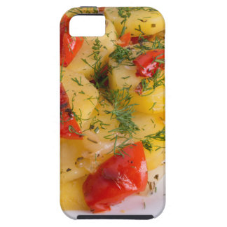 Top view of the vegetarian dish of organic potato case for the iPhone 5
