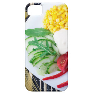 Top view of the vegetarian dish of raw vegetables iPhone 5 case