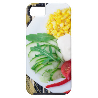 Top view of the vegetarian dish of raw vegetables iPhone 5 covers