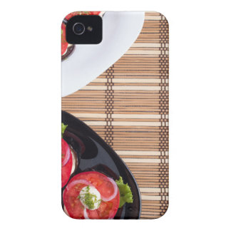 Top view of the vegetarian dishes stewed eggplant iPhone 4 case