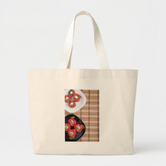 Top view of the vegetarian dishes stewed eggplant large tote bag