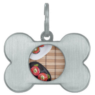 Top view of the vegetarian dishes stewed eggplant pet name tag