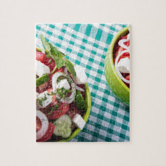 Top view of two bowls useful vegetarian meal close jigsaw puzzle