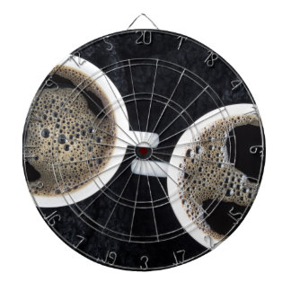 Top view of two small cups of coffee dartboard