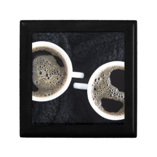 Top view of two small cups of coffee gift box