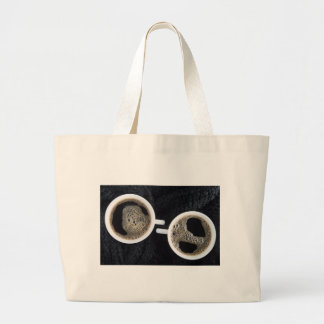 Top view of two small cups of coffee large tote bag