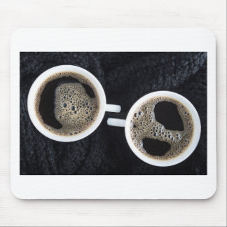 Top view of two small cups of coffee mouse pad