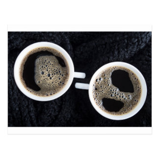 Top view of two small cups of coffee postcard