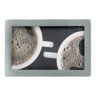 Top view of two small cups of coffee rectangular belt buckles