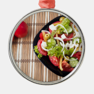 Top view on a healthy and natural vegetable salad Silver-Colored round ornament