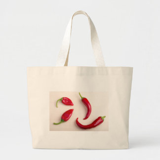 Top view on a hot red chili peppers large tote bag