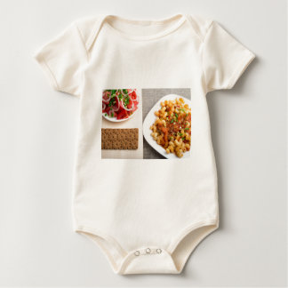 Top view on Cavatappi Pasta on textile background