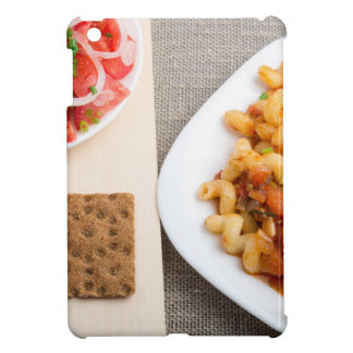 Top view on Cavatappi Pasta on textile background Case For The iPad Mini