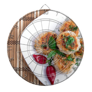 Top view on food made from natural ingredients dartboard