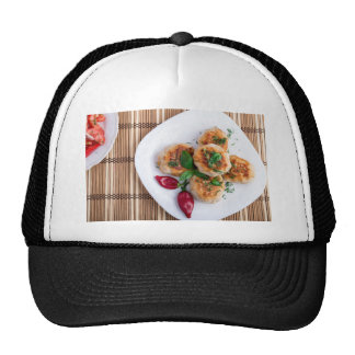 Top view on food made from natural ingredients trucker hat