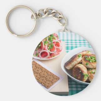 Top view on russian homemade lunch on a table basic round button keychain