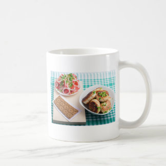 Top view on russian homemade lunch on a table coffee mug