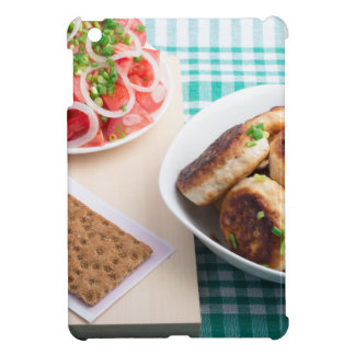 Top view on russian homemade lunch on a table cover for the iPad mini