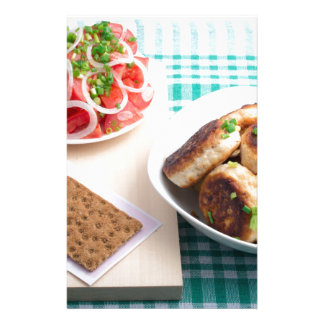 Top view on russian homemade lunch on a table stationery