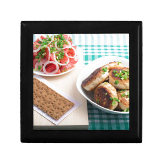 Top view on russian homemade lunch on a table trinket boxes